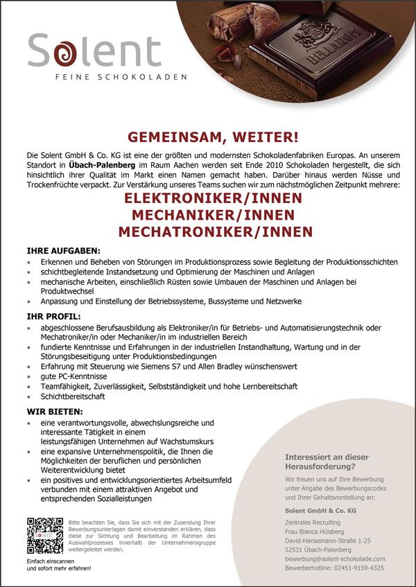 Elektroniker m/w  Mechaniker m/w  Mechatroniker m/w - Solent GmbH & Co KG - in Übach-Palenberg - stellenecho.de
