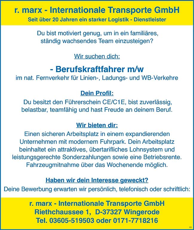 Berufskraftfahrer / Kraftfahrer m/w  im nationalen Fernverkehr für Linien-, Ladungs- und WB-Verkehre - r.marx - Internationale Transporte GmbH - in Wingerode - stellenecho.de