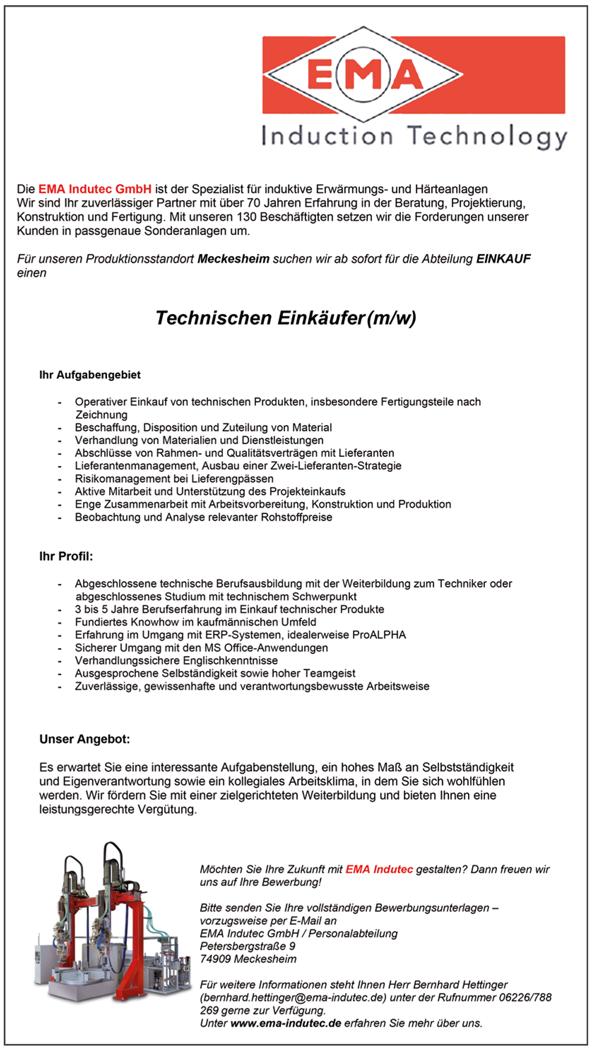 Technischer Einkäufer m/w - EMA Indutec GmbH - in Meckesheim - stellenecho.de