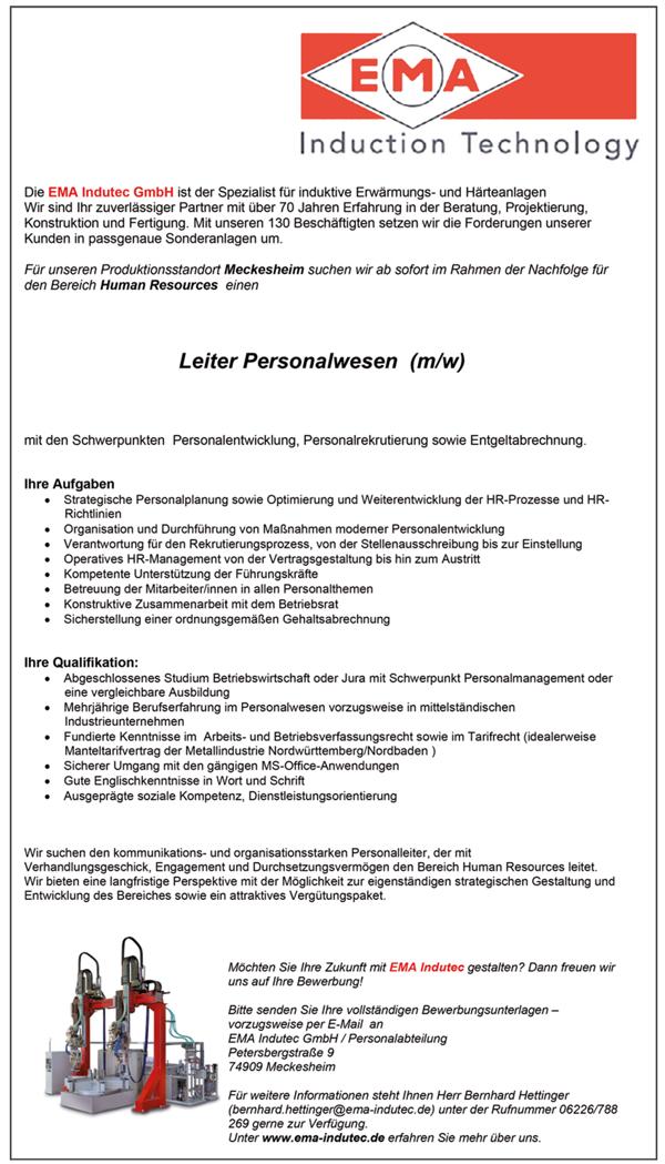 Leiter Personalwesen m/w  Personalleiter / HR-Leiter - EMA Indutec GmbH - in Meckesheim - stellenecho.de