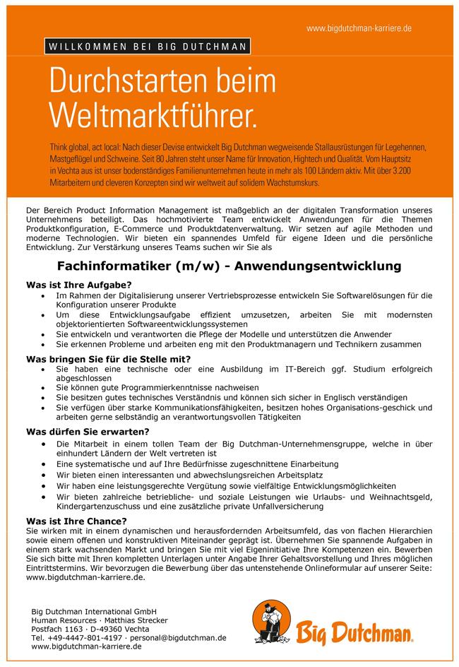 Fachinformatiker m/w   Anwendungsentwicklung - Big Dutchmann International GmbH - in Vechta - stellenecho.de