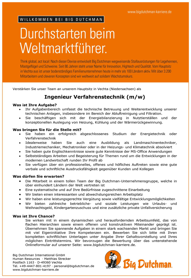 Ingenieur m/w  Verfahrenstechnik - Big Dutchmann International GmbH - in Vechta - stellenecho.de