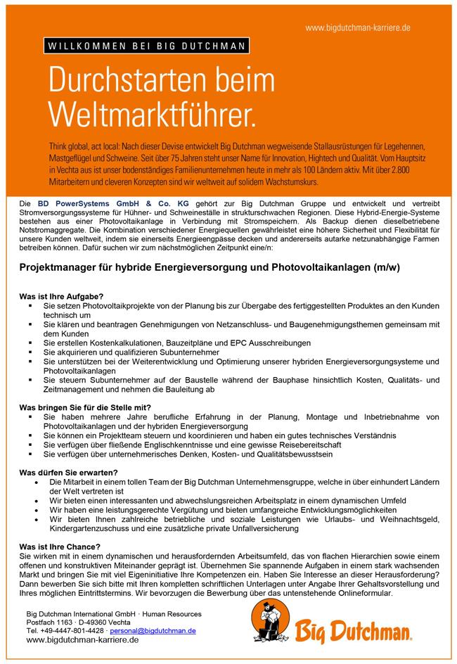 Projektmanager m/w   für hybride Energieversorgung und Photovoltaikanlagen - Big Dutchmann International GmbH - in Vechta - stellenecho.de