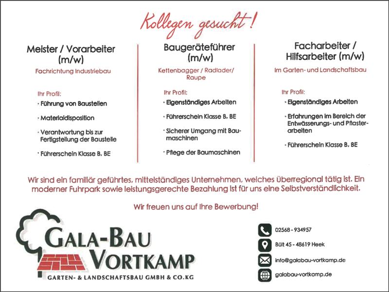 Meister / Vorarbeiter m/w  Fachrichtung Industriebau  Baugeräteführer m/w  Kettenbagger / Radlader / Raupe  Facharbeiter / Hilfsarbeiter m/w  im Garten- und Landschaftsbau - Galabau Vortkamp GmbH & Co. KG - in Heek - stellenecho.de
