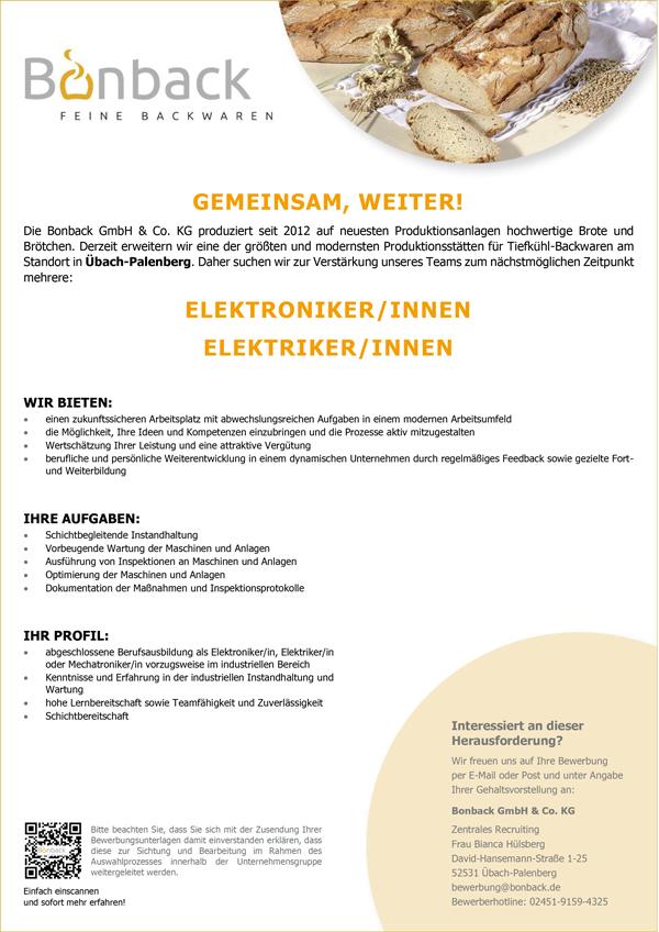 Elektroniker m/w  Elektriker m/w - Bonback GmbH & Co. KG - in Übach-Palenberg - stellenecho.de