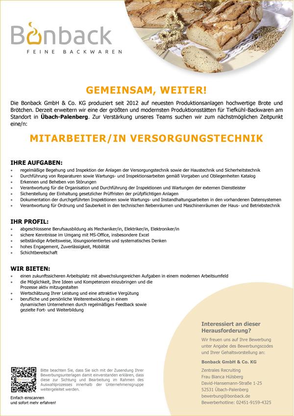 Mitarbeiterin / Mitarbeiter   im Versorgungsdienst in Übach-Palenberg - Bonback GmbH & Co. KG - in Übach-Palenberg - stellenecho.de