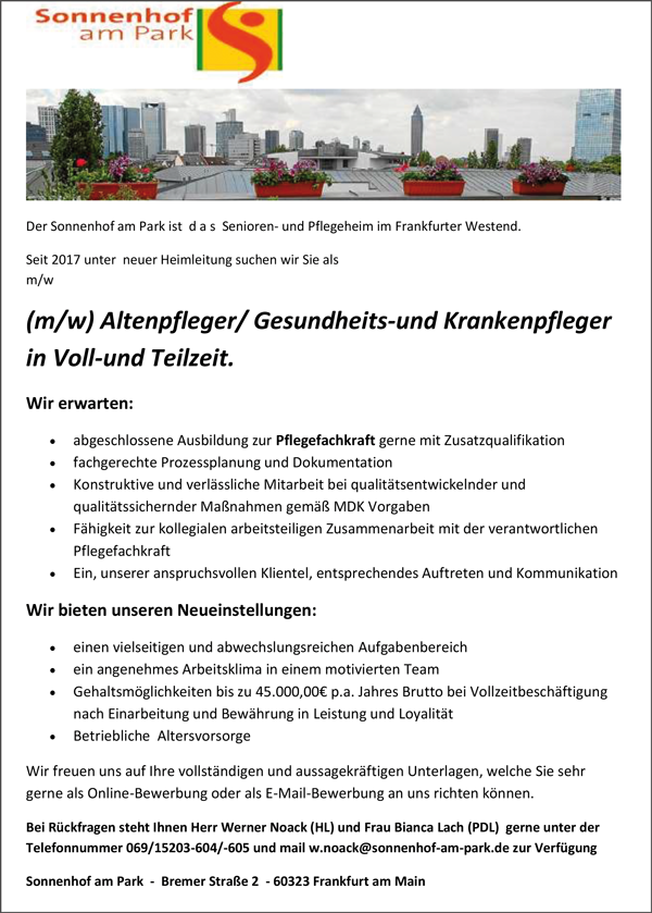 Altenpflegerin / Altenpfleger  Gesundheits- und Krankenpfleger /in  in Vollzeit und Teilzeit - Sonnenhof Atrium - in Hettenleidelheim - stellenecho.de