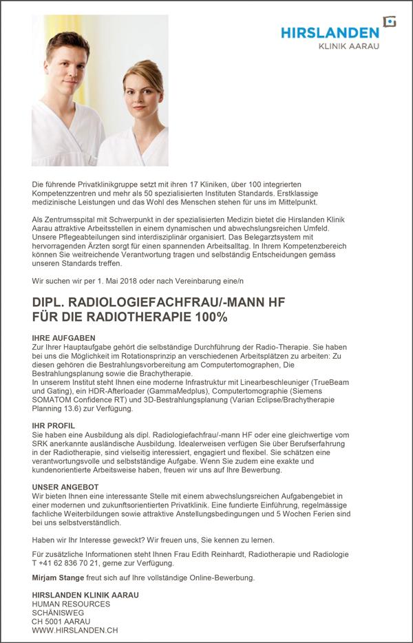 Diplom Radiologiefachfrau / Radiologiefachmann HF  füe die Radiotherapie, 100% - Hirslanden Klinik Aarau - in Aarau - stellenecho.de