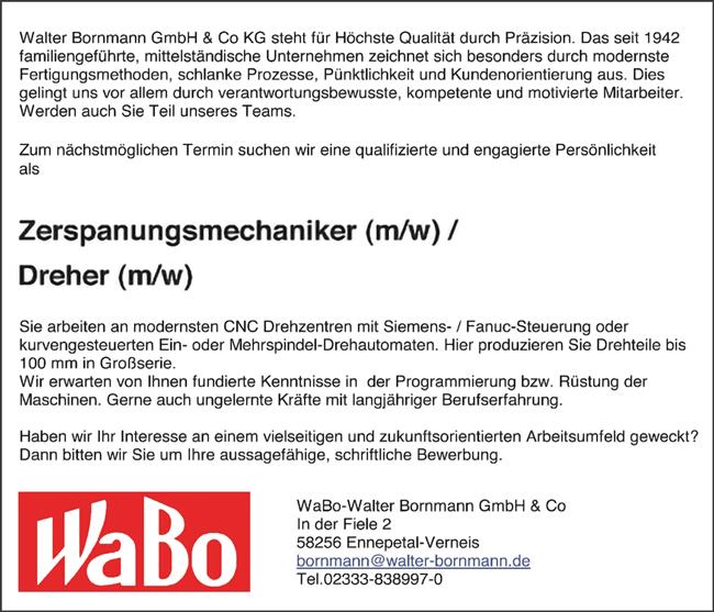 Zerspanungsmechaniker m/w  Dreher m/w - Walter Bornmann GmbH & Co. KG - in Ennepetal-Verneis - stellenecho.de