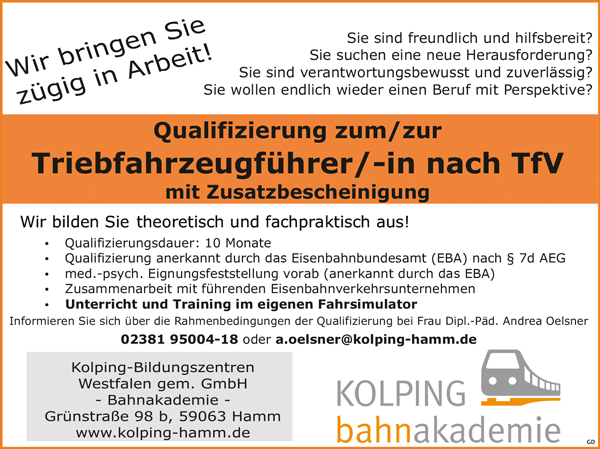 Qualifizierung zum/zur Triebfahrzeugführerin / Triebfahrzeugführer nach TfV mit Zusatzbescheinigung - Kolping-Bildungszentren Westfalen gem. GmbH - in Hamm - stellenecho.de