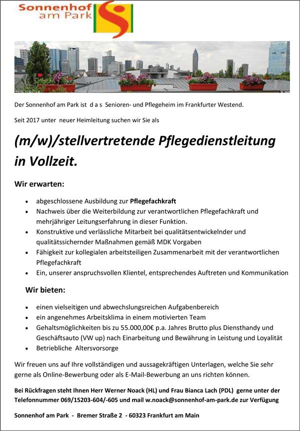 Stellvertretende Pflegedienstleitung m/w  in Vollzeit - Sonnenhof Atrium - in Hettenleidelheim - stellenecho.de