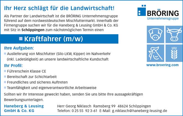 Kraftfahrer m/w  im regionalen Nahverkehr / Futtermittel - Haneberg & Leusing GmbH & Co. KG - in Schöppingen - stellenecho.de