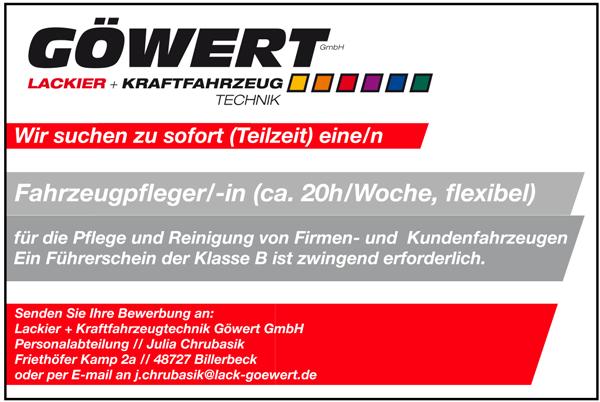 Fahrzeugpfleger m/w  in Teilzeit, ca. 20 Stunden/Woche, flexibel - Lackier- und Kraftfahrzeugtechnik Göwert GmbH - in Billerbeck - stellenecho.de