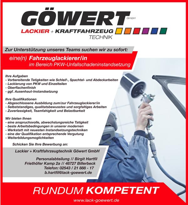 Fahrzeuglackierer m/w  im Bereich PkW-Unfallschadeninstandsetzung  in Vollzeit - Lackier- und Kraftfahrzeugtechnik Göwert GmbH - in Billerbeck - stellenecho.de