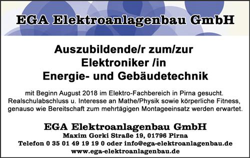 Auszubildende/r zum/zur Elektroniker /in Energie- und Gebäudetechnik - EGA Elektroanlagenbau GmbH - in Pirna - stellenecho.de
