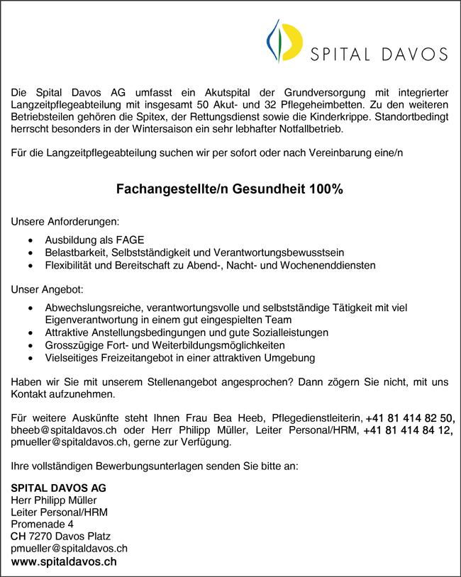 Fachangestellte / Fachangestellten Gesundheit, 100%  für die Langzeitpflegeabteilung per sofort oder nach Vereinbarung - Spital Davos AG - in Davos Platz - stellenecho.de
