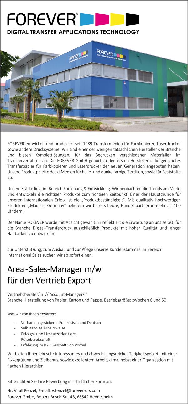 Area-Salers Manager m/w  für Vertrieb Export - Forever GmbH - in Heddesheim - stellenecho.de