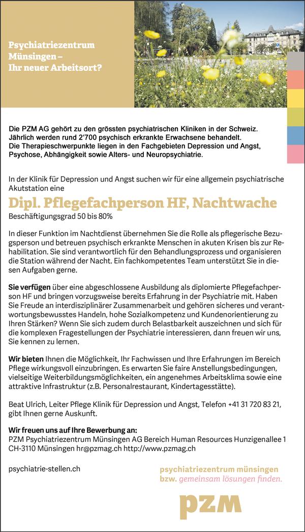 Diplomierte Pflegefachperson HF, Nachtwache, 50 – 80% - PZM Psychiatriezentrum Münsingen AG - in Münsingen - stellenecho.de