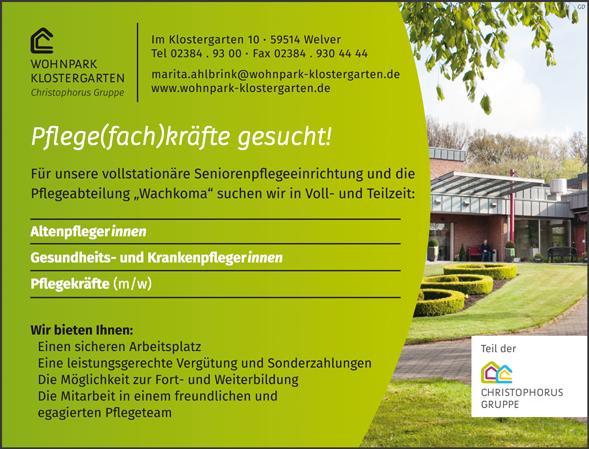 Pflegefachkräfte m/w  Altenpflegerinnen / Altenpfleger  Gesundheits- und Krankenpflegerinnen / Gesundheits- und Krankenpfleger  Pflegekräfte m/w - Wohnpark Klostergarten GmbH - in 59514 - stellenecho.de