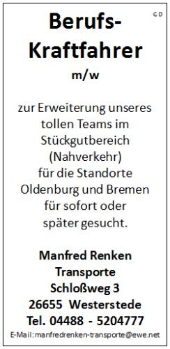 Berufskraftfahrer C/CE m/w  für die Standorte Oldenburg und Bremen - Manfred Renken Transporte - in Westerstede - stellenecho.de