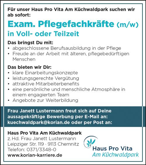 Examinierte Pflegefachkräfte m/w  in Vollzeit und Teilzeit - PRO VITA Heimbetriebsgesellschaft mbH - in Chemnitz - stellenecho.de