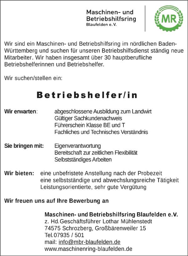 Landwirt mit abgeschlossener Ausbildung   als Betriebshelfer m/w gesucht - Maschinen und Betriebshilfring Blaufelden e.V - in Schrozberg - stellenecho.de