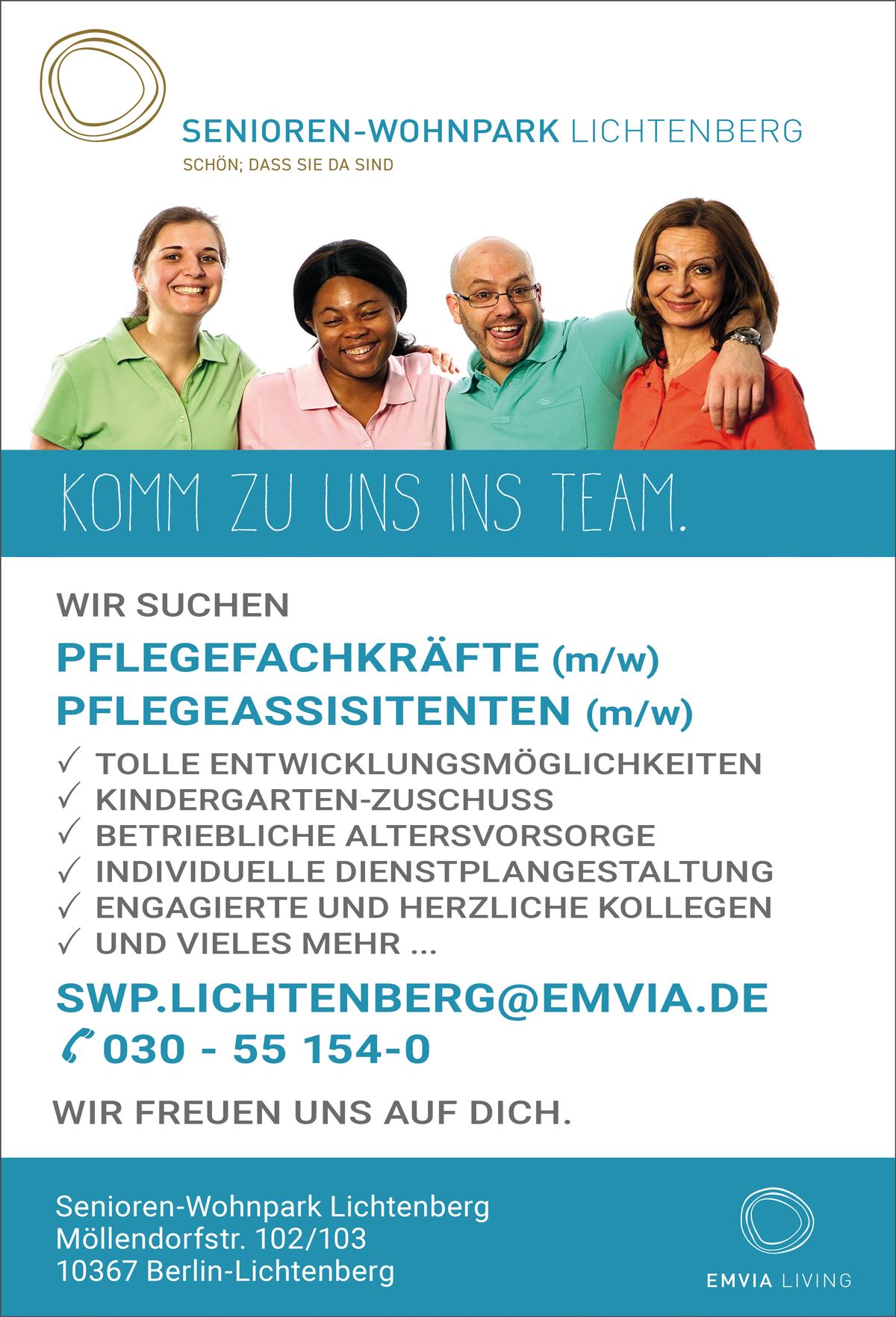 Pflegefachkräfte m/w  Pflegeassistenten m/w  in Berlin - Senioren -Wohnpark Lichtenberg - in Berlin - stellenecho.de