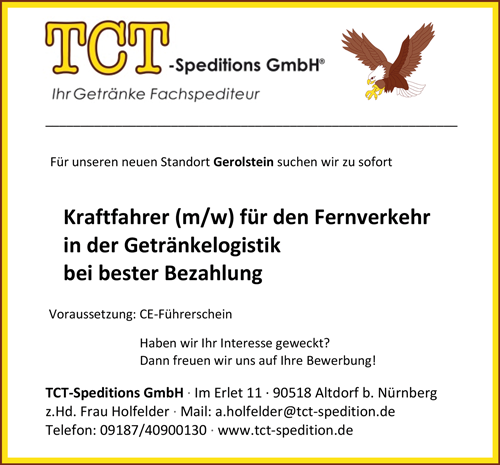 Kraftfahrer m/w für den Fernverkehr  in der Getränkelogistik für Gerolstein - TCT -Speditions GmbH - in Altdorf bei Nürnberg - stellenecho.de