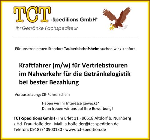 Kraftfahrer m/w für Vertriebstouren im Nahverkehr für die   Getränkelogistik für Gerolstein am Standort Tauberbischofsheim - TCT -Speditions GmbH - in Altdorf bei Nürnberg - stellenecho.de