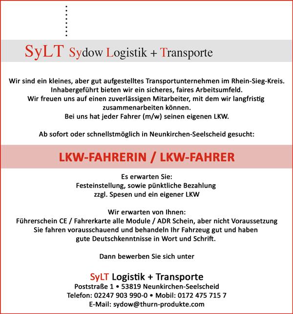 LKW-Fahrerin / LKW-Fahrer  mit FS-Kl. CE, Fahrerkarte aller Module;   ADR-Schein wäre von Vorteil - SyLT Logistik + Transporte - in Neunkirchen Seelscheid - stellenecho.de