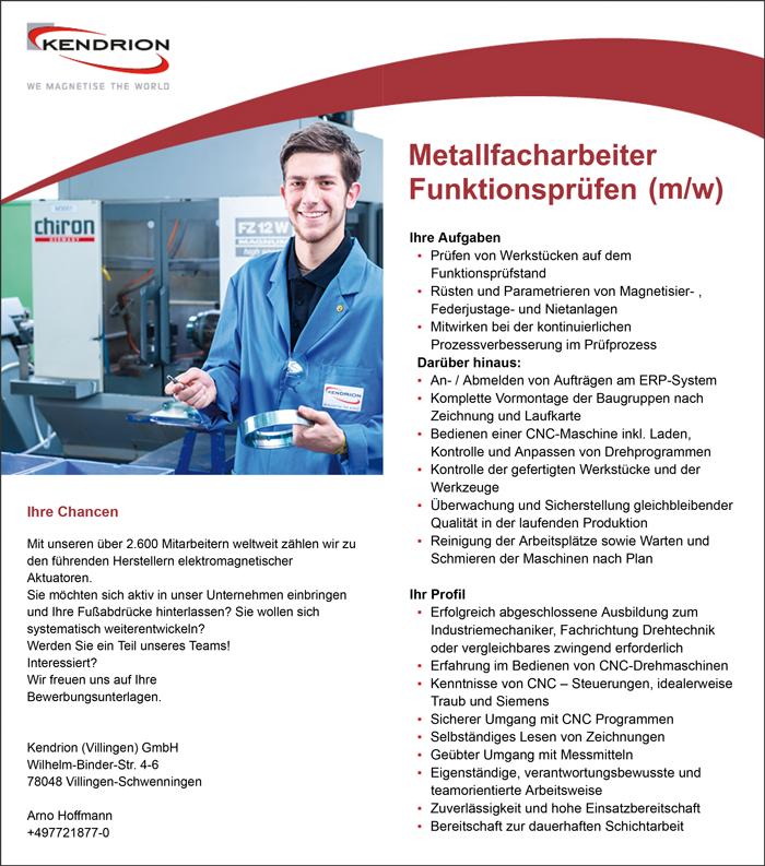 Metallfacharbeiter Funktionsprüfen m/w - Kendrion GmbH - in Donaueschingen - stellenecho.de