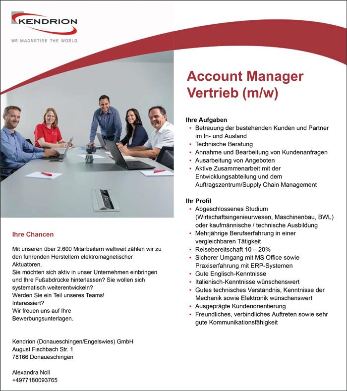 Account Manager Vertrieb m/w - Kendrion GmbH - in Donaueschingen - stellenecho.de