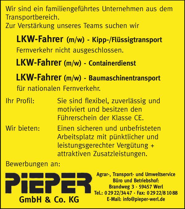 LKW-Fahrer m/w - Kipp- / Flüssigtransport  Fernverkehr nicht ausgeschlossen  LKW-Fahrer m/w Containerdienst  LKW-Fahrer m/w Baumaschinentransport für nationalen Fernverkehr - Pieper GmbH & Co KG - in Werl - stellenecho.de