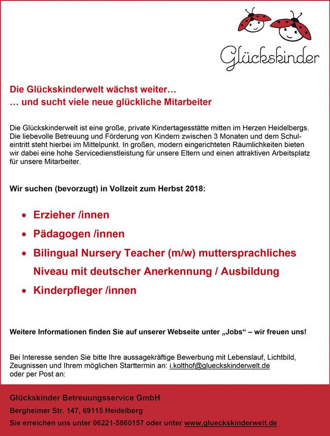 Erzieherinnen / Erzieher  Pädagoginnen / Pädagogen  Kinderpflegerinnen / Kinderpfleger  Bilingual Nursery Teacher m/w muttersprachliches Niveau  mit deutscher Anerkennung / Ausbildung - Glückskinder Betreuungsservice GmbH - in Heidelberg - stellenecho.de