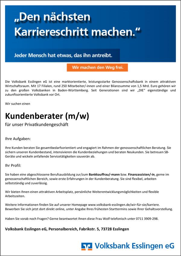 Kundenberater m/w  für unser Privatkundengeschäft - Volksbank Esslingen eG - in Esslingen - stellenecho.de