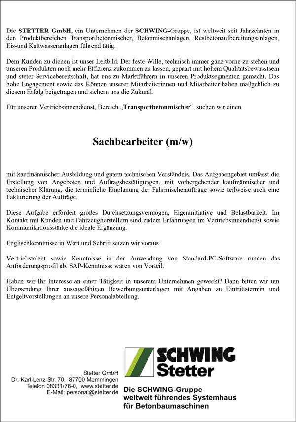 Sachbearbeiter m/w  für den Vertriebsinnendienst - Stetter GmbH - in Memmingen - stellenecho.de