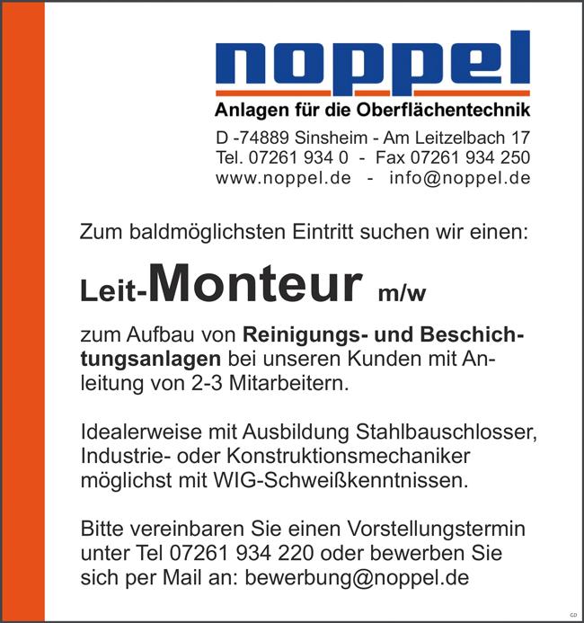 Leit-Monteur m/w zum Aufbau von Reinigungs- und Beschichtungsanlagen,  unbefristet, Vollzeit - noppel Anlagen für die Oberflächentechnik - in Sinsheim - stellenecho.de