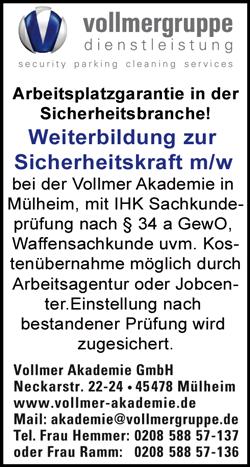 Weierbildung zur Sicherheitsfachkraft m/w  Festeinstellung nach erfolgreicher Ausbildung / bestandener Prüfung - Vollmer Akademie GmbH - in Mühlheim an der Ruhr - stellenecho.de