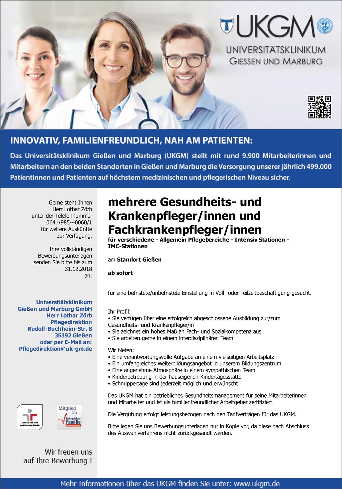 mehrere Gesundheits- und Krankenpfleger /innen  mehrere Fachkrankenpfleger /innen  für verschiedene - Allgemein Pflegebereiche, Intensiv Stationen, IMC-Stationen - Universitätsklinikum Gießen und Marburg GmbH - in Gießen - stellenecho.de