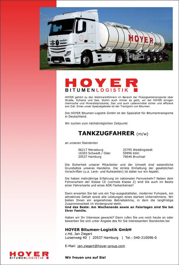 LKW-Fahrer / Tankzugfahrer m/w  an verschiedenen Standorten - Hoyer GmbH - in Hamburg - stellenecho.de