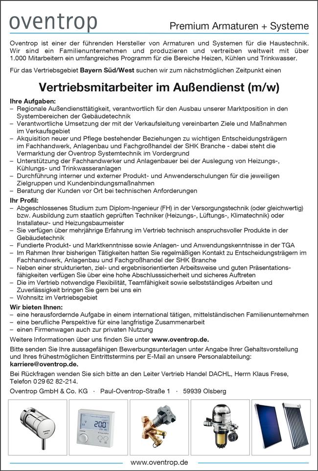 Vertriebsmitarbeiter im Außendienst / Dipl. Ingenieur FH Versorgungstechnik m/w  für das Vertriebsgebiet Bayern Süd/West suchen zum nächstmöglichen Zeitpunkt gesucht - Oventrop GmbH & Co KG - in Olsberg - stellenecho.de