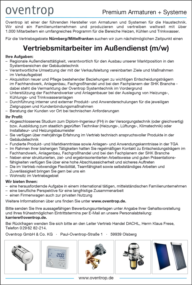Vertriebsmitarbeiter im Außendienst / Dipl. Ingenieur FH Versorgungstechnik m/w für  die Vertriebsgebiete Nürnberg / Mittelfranken suchen zum nächstmöglichen Zeitpunkt gesucht - Oventrop GmbH & Co KG - in Olsberg - stellenecho.de