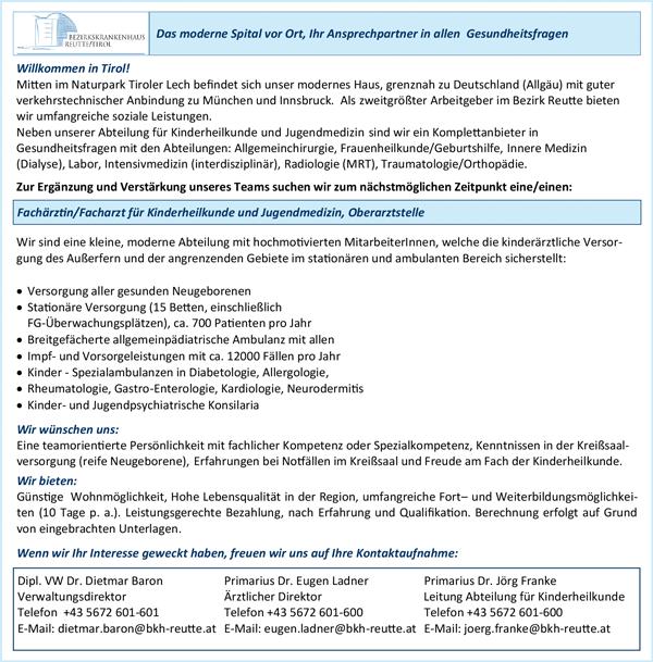 Fachärztin / Facharzt für Kinderheilkunde und Jungendmedizin als Oberärztin / Oberarzt - Allg öffentl Bezirkskrankenhaus Reutte - in Ehenbichl - stellenecho.de