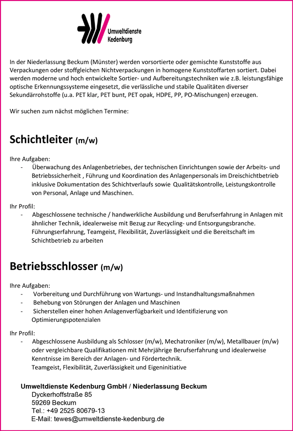 Schichtleiter m/w  Betriebsschlosser m/w - Umweltdienste Kedenburg GmbH Niederlassung Beckum - in Beckum - stellenecho.de
