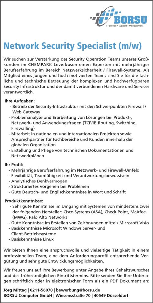 Network Security Specialist m/w in Düsseldorf - BORSU Computer GmbH - in Düsseldorf - stellenecho.de