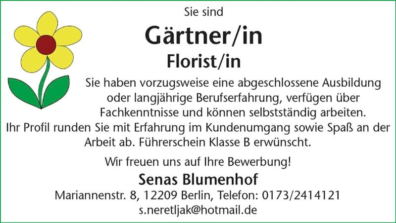 Gärtner m/w  Florist m/w - Senas Blumenhof - in Berlin - stellenecho.de