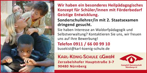 Sonderschullehrerin / Sonderschullehrer  mit 2. Staatsexamen gerne mit Interesse an Waldorfpädagogik - Karl-König-Schule gGmbH - in Nürnberg - stellenecho.de