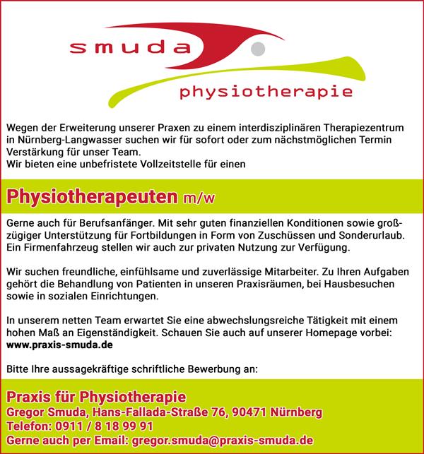 Physiotherapeut m/w  in Vollzeit - Praxis für Physiotherapie Gregor Smuda - in Nürnberg - stellenecho.de