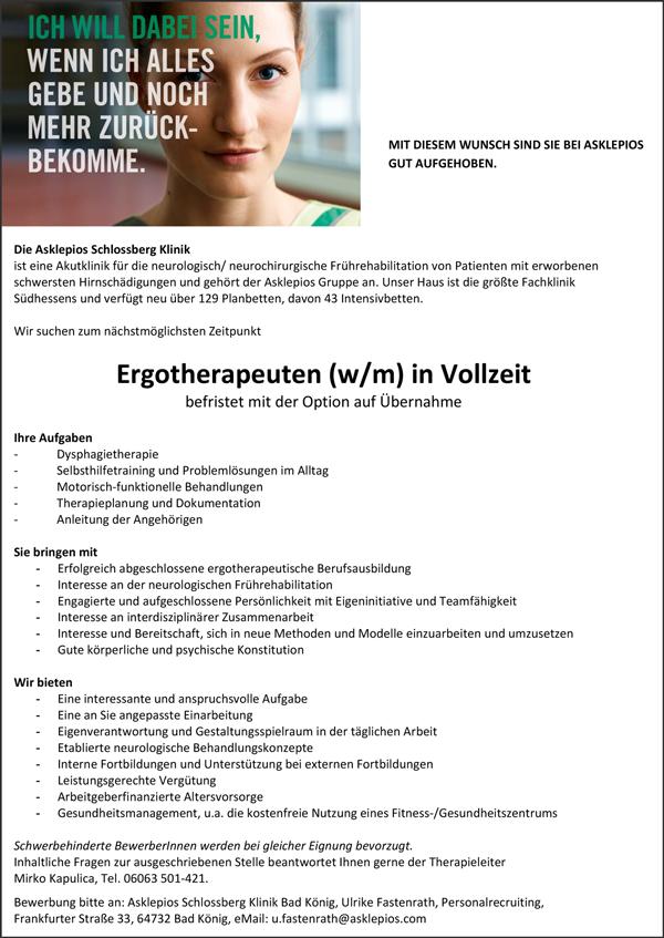 Ergotherapeutin / Ergotherapeut m/w  in Vollzeit, befristet mit Option auf Übernahme in Bad König, Asklepios Klinik - Asklepios Schlossberg Klinik - in Bad König - stellenecho.de
