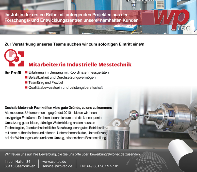 Mitarbeiter m/w industrielle Messtechnik - wp-TEC GmbH - in Saarbrücken - stellenecho.de